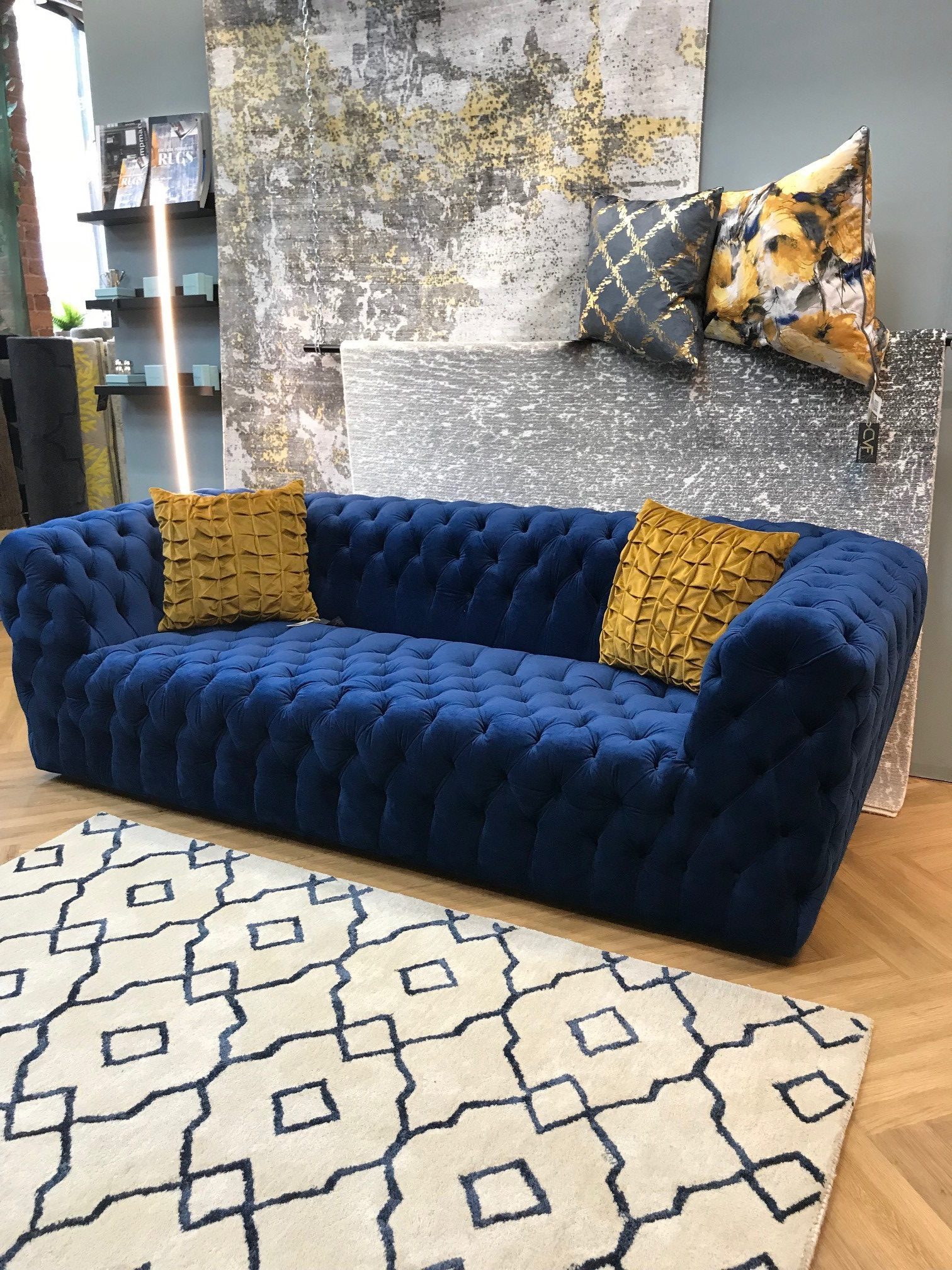 Premium Royal Blue Sofa Calder Valley Flooring